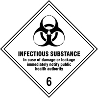 Infectious Substance 6 labels 100 x 100mm Roll of 250