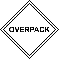 OVERPACK labels 100 x 100mm Roll of 250