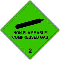 Non flammable Compressed Gas 2 labels 250 x 250mm Pack of 10