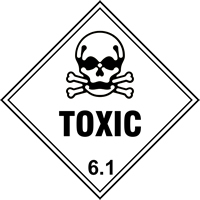 Toxic 6.1 labels 250 x 250mm Pack of 10