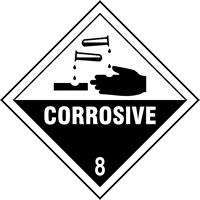 Corrosive 8 labels 250 x 250mm Pack of 10