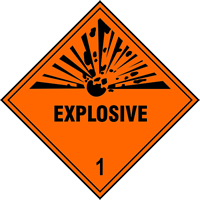 Explosive 1 labels 250 x 250mm Pack of 10