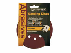 150 mm Assorted Hook and Loop Circular Sanding Discs Packet of 5