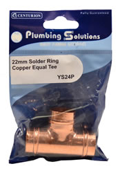 22 mm Solder Ring Copper Equal Tee