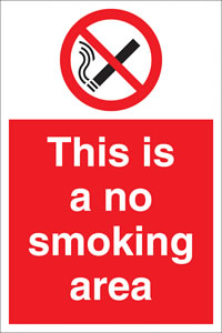 This is a no smoking area label. sign