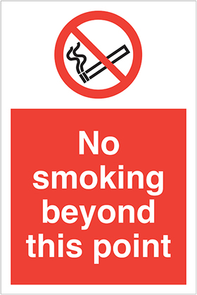 No smoking beyond this point label. sign