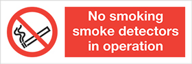 No smoking smoke detectors in operation. label. sign