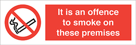 It is an offence to smoke on these premises label. sign