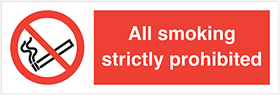 All smoking strictly prohibited label. sign