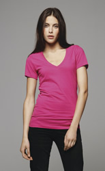Bella Deep V-Neck Jersey T-Shirt