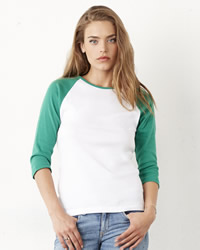 Bella Ladies Three Quarter Sleeve Contrast T-shirt