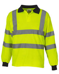 Yoko Hi-Vis 2 Band Long Sleeve Polo Shirt