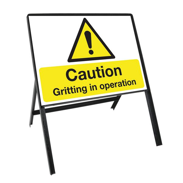 Heavy Duty Temporary Winter De-Icing Sign Kit - Gritting Safety Signs