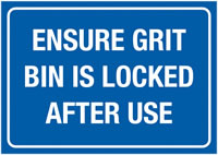 A3 Ensure Grit Bin Is Locked After Self Adhesive Vinyl Safety Labels